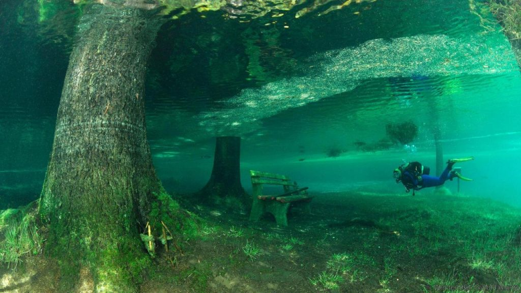 Wooden bench in overflowed Green Lake, Tragoess, Styria, Austria