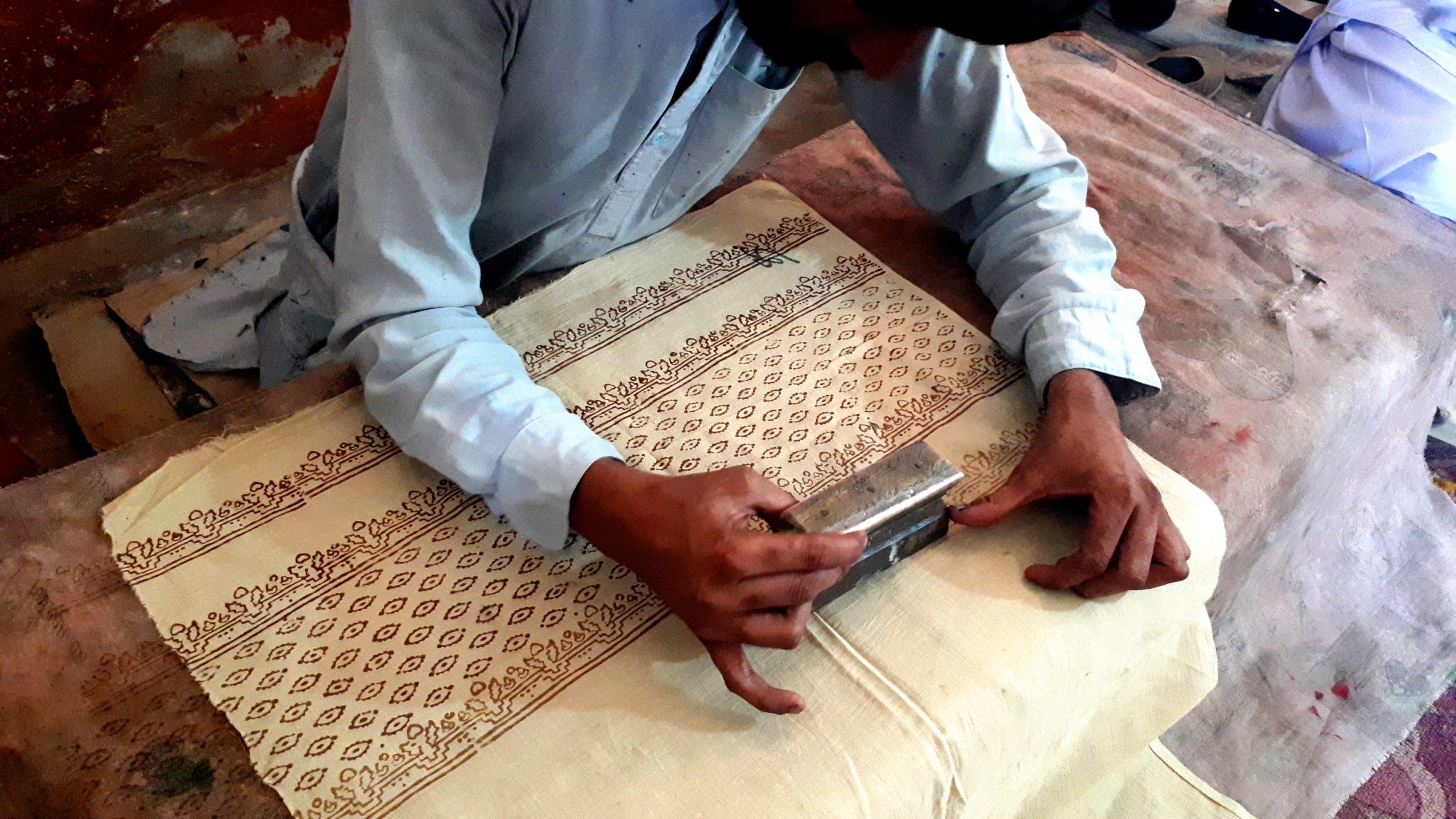 Ajrak Printing workshop, in Bhitshah,Sindh.