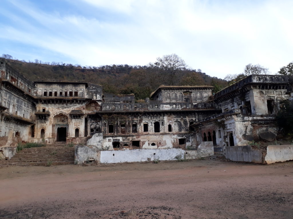 Ruined mansion at the base of the hillock