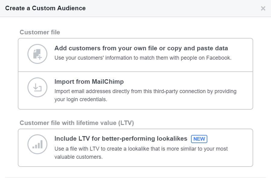Facebook Choose Customer File