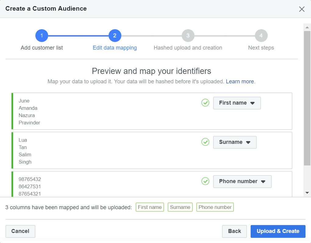Facebook Custom Audience Data Mapping