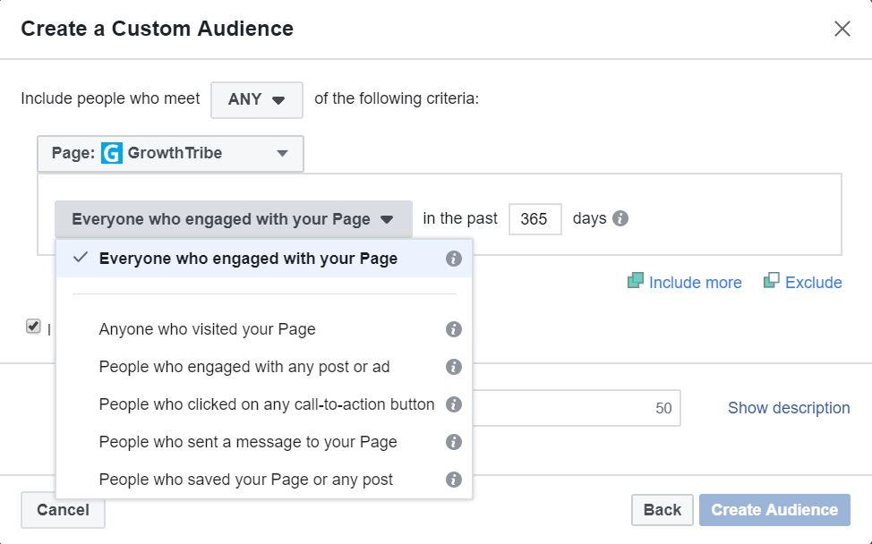 Facebook Custom Audience Engagement Source