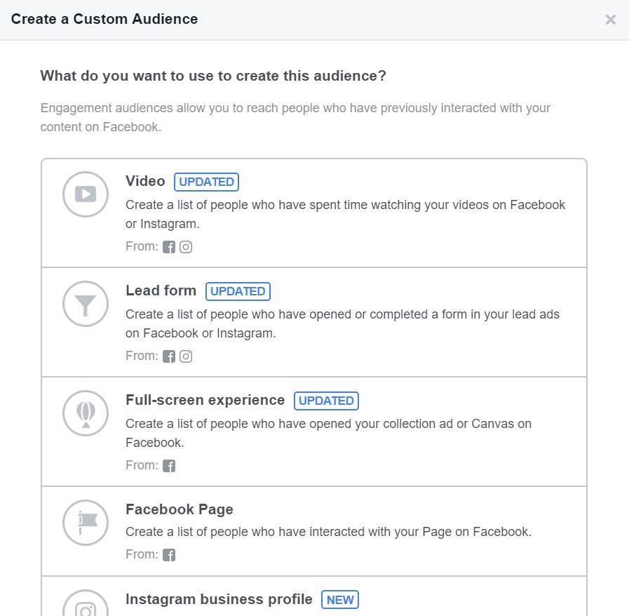 Facebook Custom Audience Engagement Type