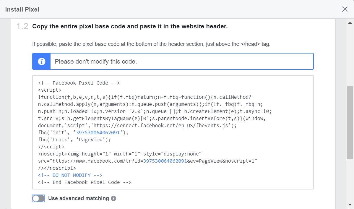 Facebook Custom Audience Install Pixel