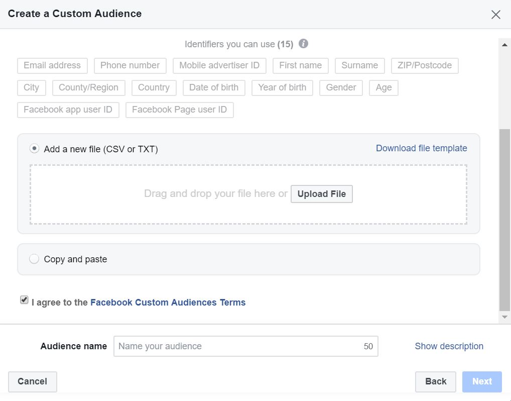 Facebook Custom Audience Upload File
