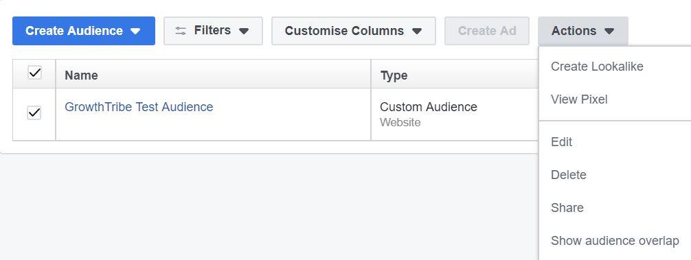 Facebook Custom Audience View Pixel