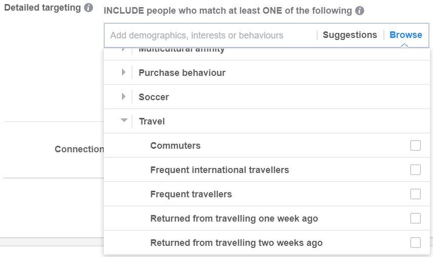 Facebook Travel Detailed Targeting