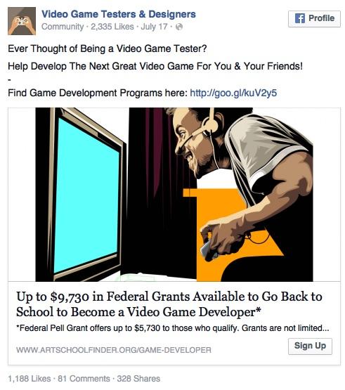 Facebook Ad No Core Message Example