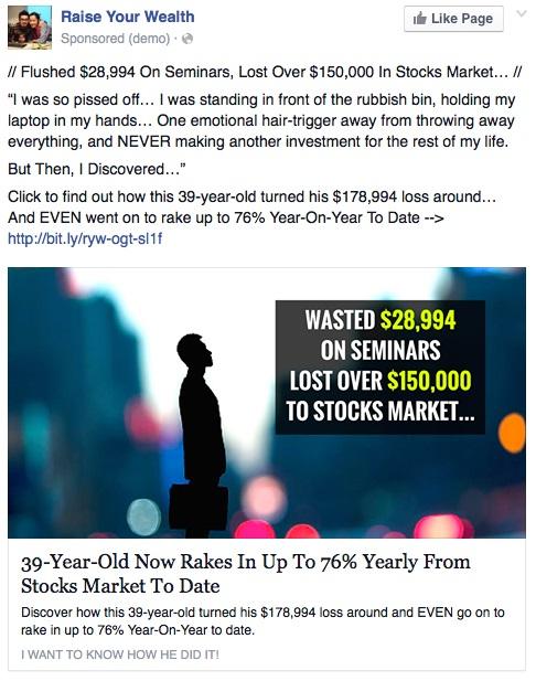 Facebook Ad Curiosity Example