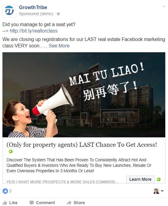 Facebook Ad Using Language