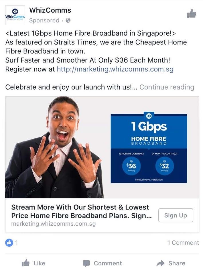 Facebook Ad Good Offer Example