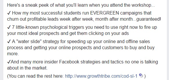 Facebook Ad Post Bullets Example