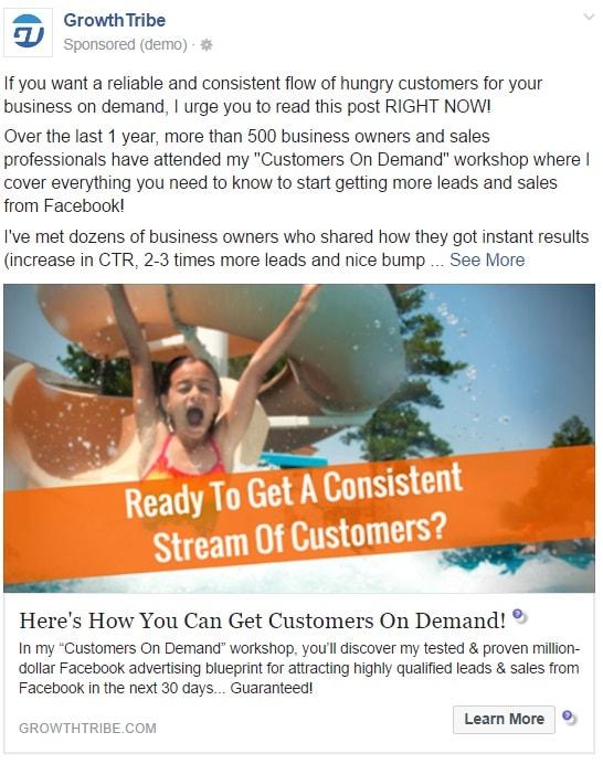 Facebook Link Ad Example