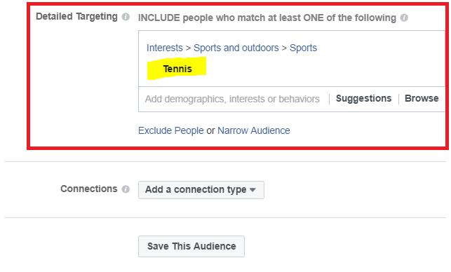Targeting Tennis On Facebook