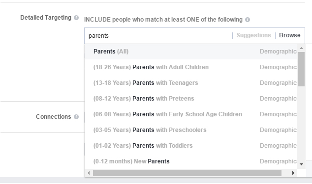 Facebook Audience Detailed Targeting Options