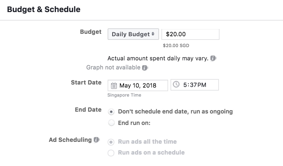 Budget And Schedule Section On Facebook