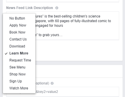 Facebook Call To Action Button Example
