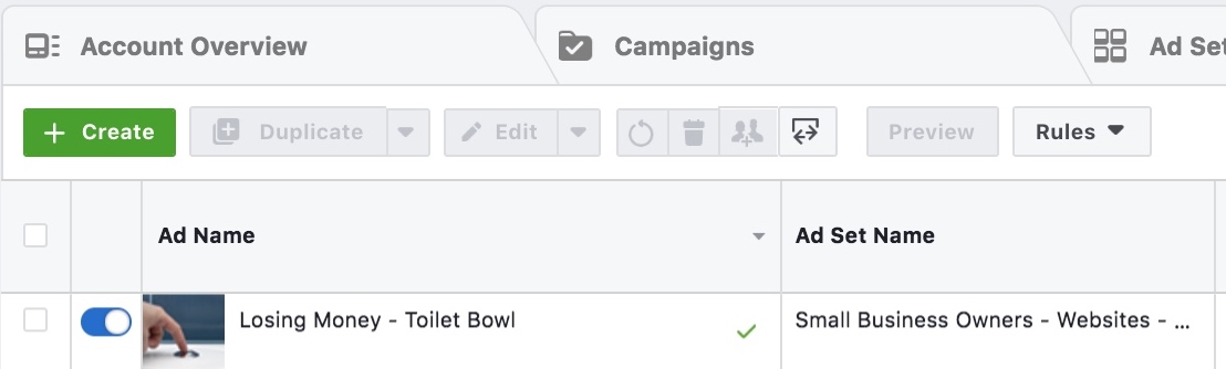 Facebook Ad Name Example