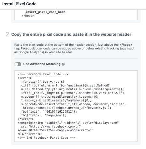 Basic Facebook Pixel Code Example