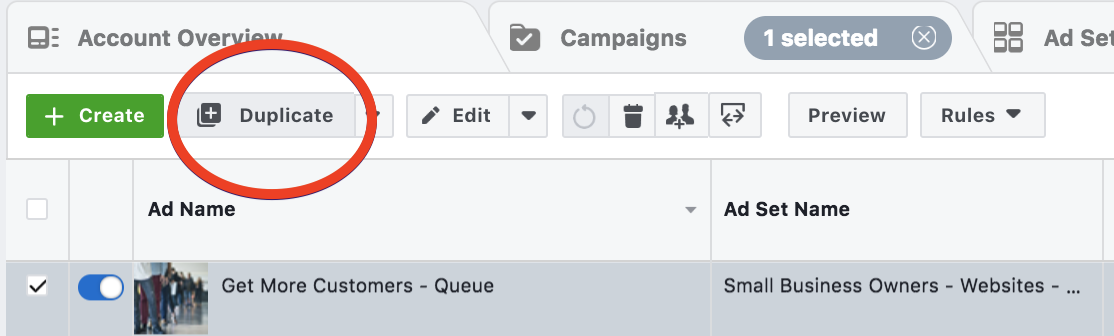 Duplicate Ad In Facebook Ad Manager