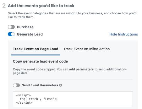 Facebook Lead Event Code Example
