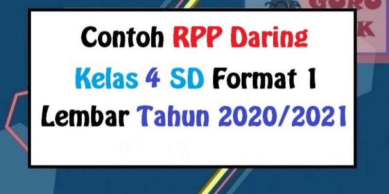 Guru Berbagi Rpp Daring Kelas 4 Sd Format 1 Lembar 2020 2021
