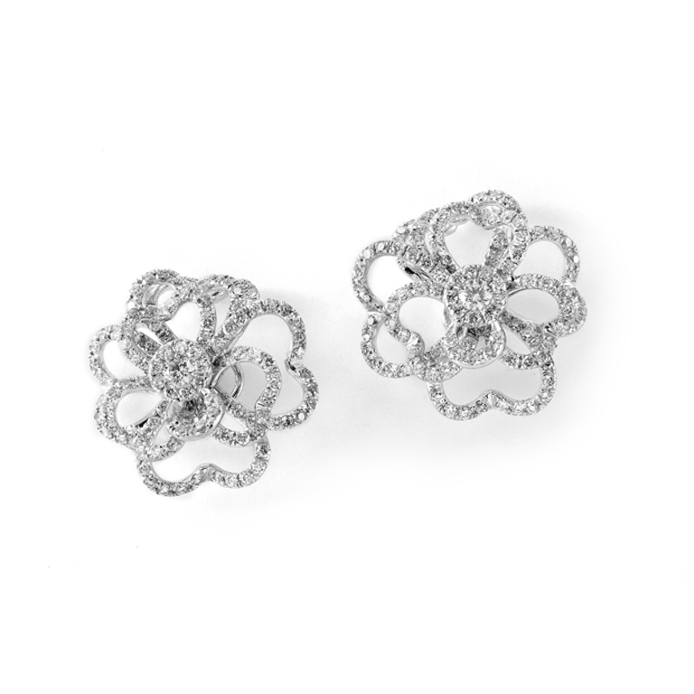 drop halo item cfm earrings in diamond florence white gold