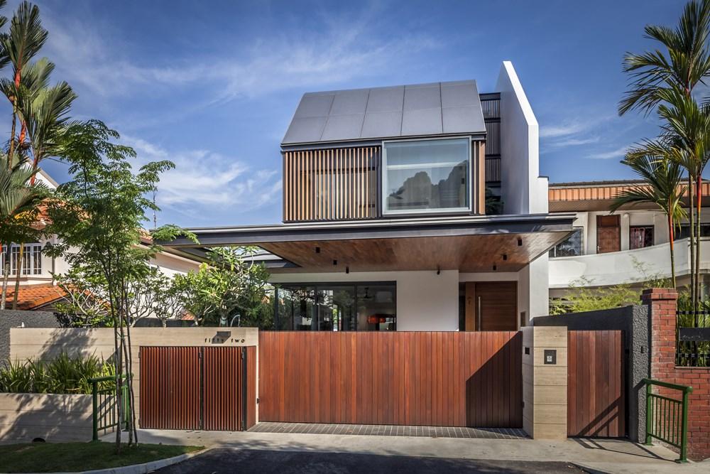 Modern 2 5 storey semi detached house design by wallflower for Modern detached house design