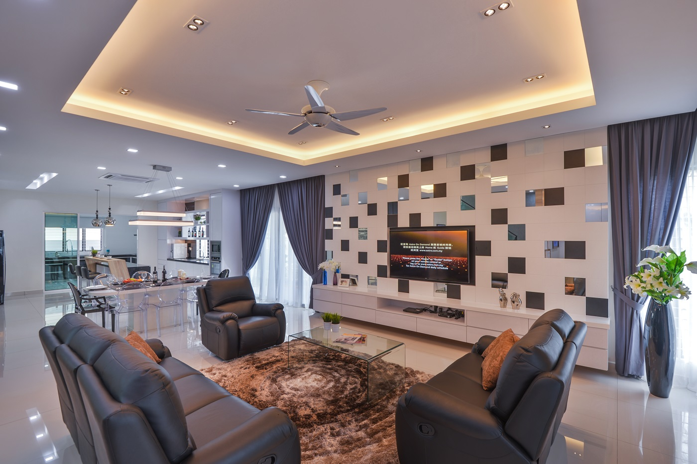 Surface r creates a contemporary interior for a aman for Bungalow home decor