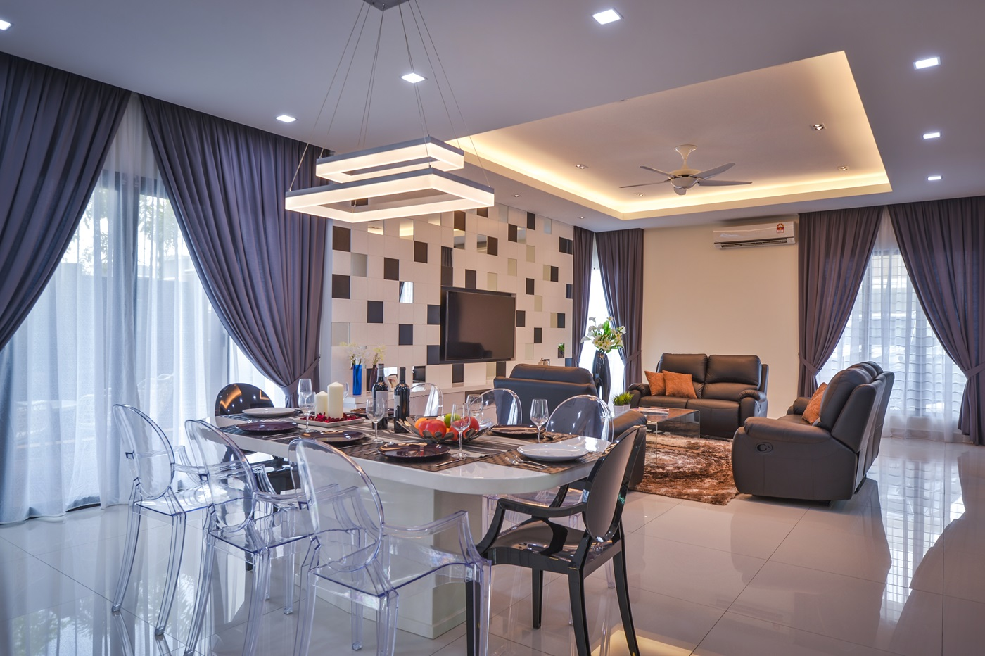 Surface r creates a contemporary interior for a aman for Modern living room malaysia