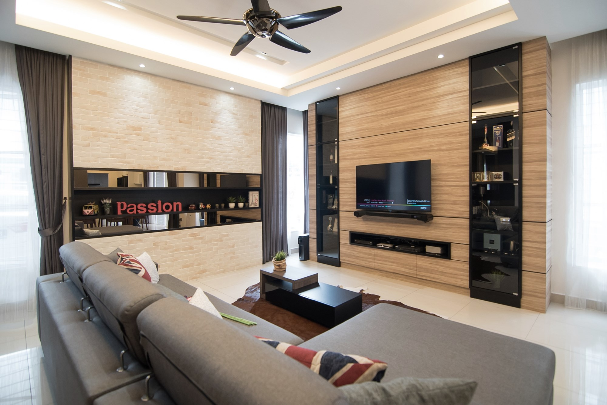 ... Timber Finishing For Tv Wall Panel Is Flanked By Two Vertical Shelving  Spaces Designed In A Terrace House Interior Design ...