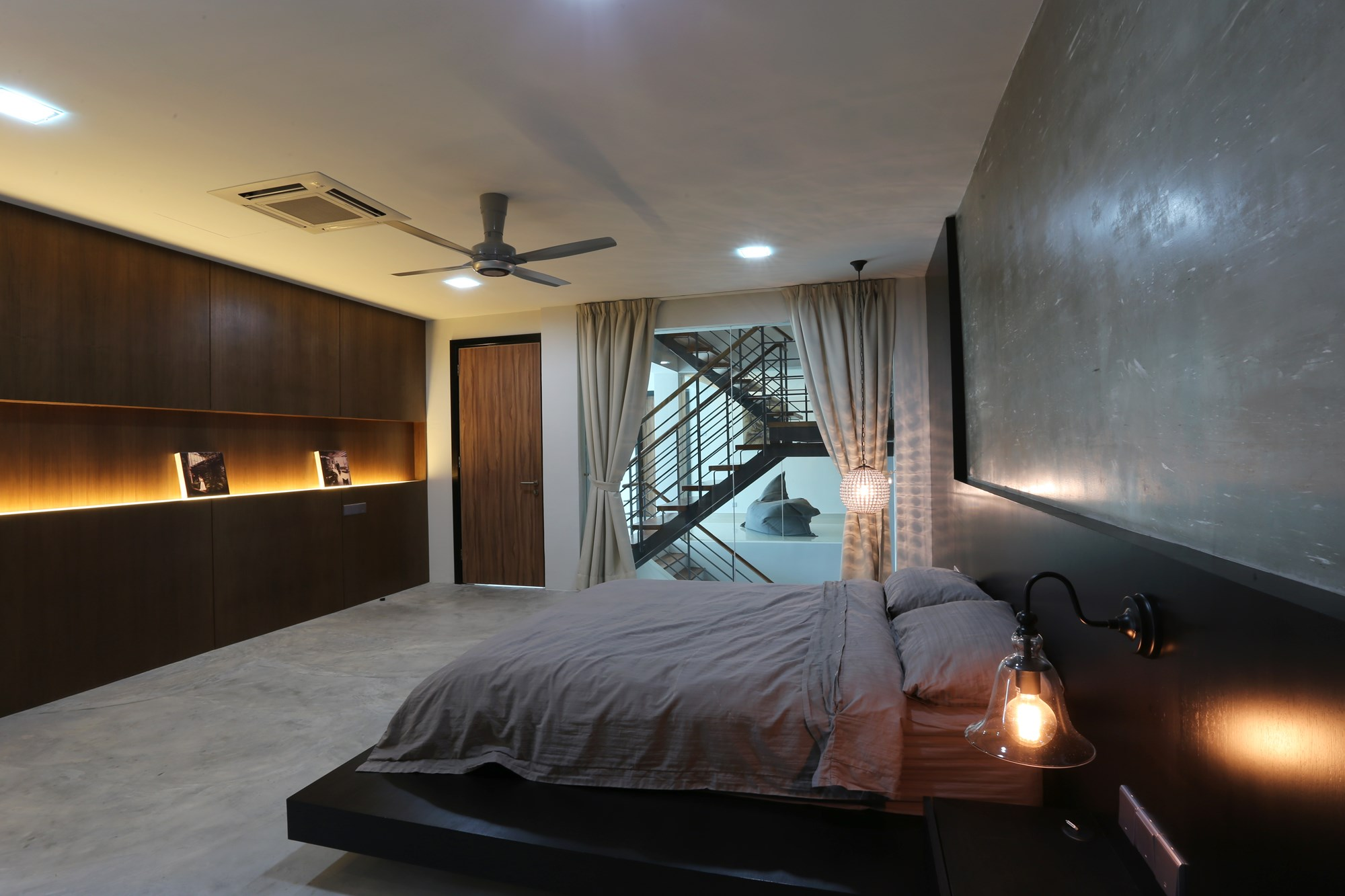 Corner terrace designed by its owner into a modern contemporary abode Master bedroom with terrace