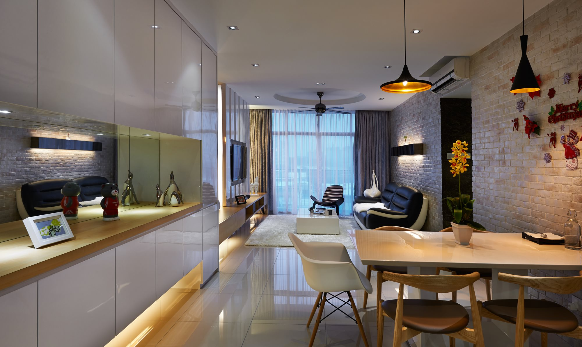 Creating a larger sense of space with a modern for Condo interior design