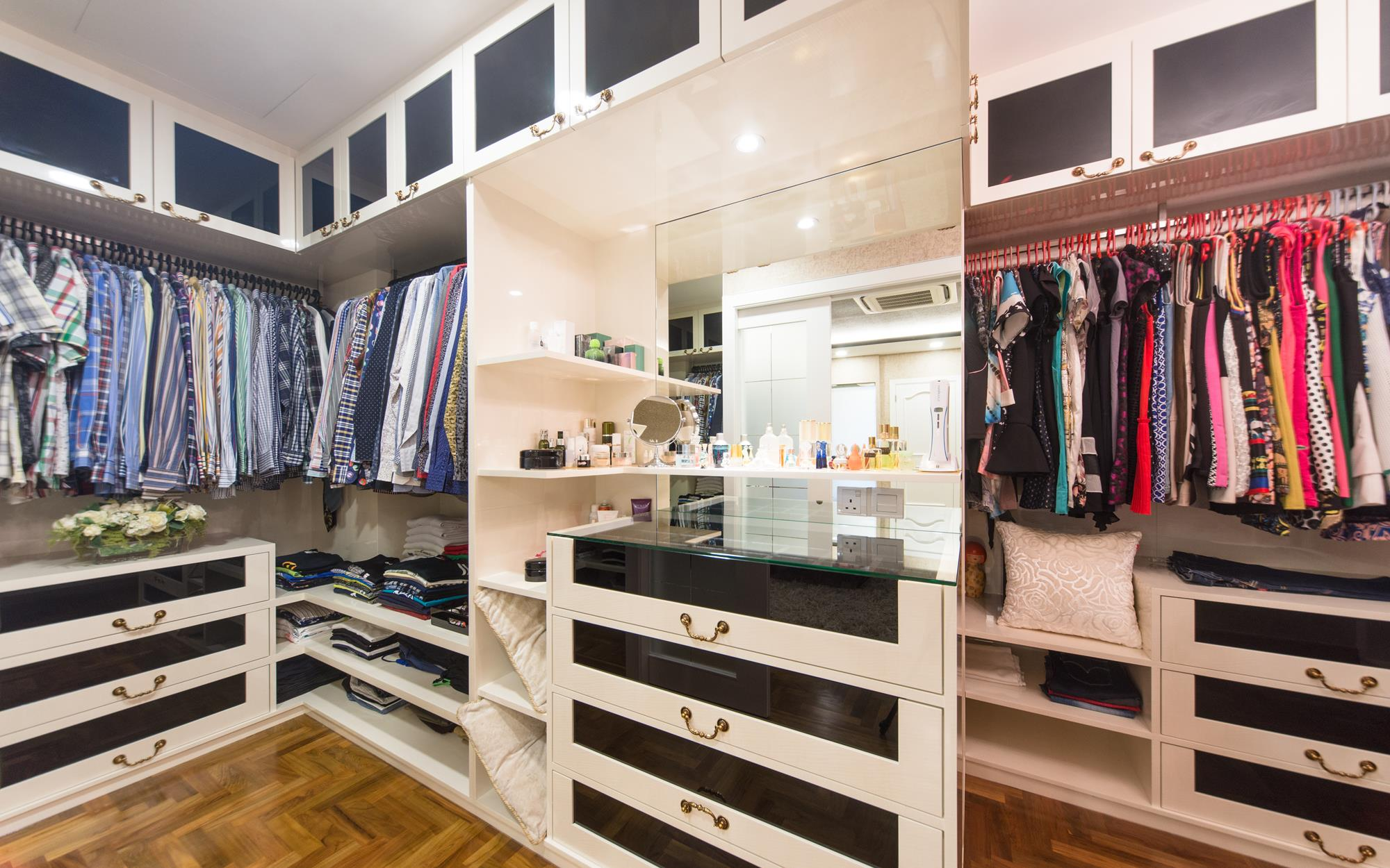 open wardrobe design combined with more classic styled built ins provides more than adequate storage adequate storage space