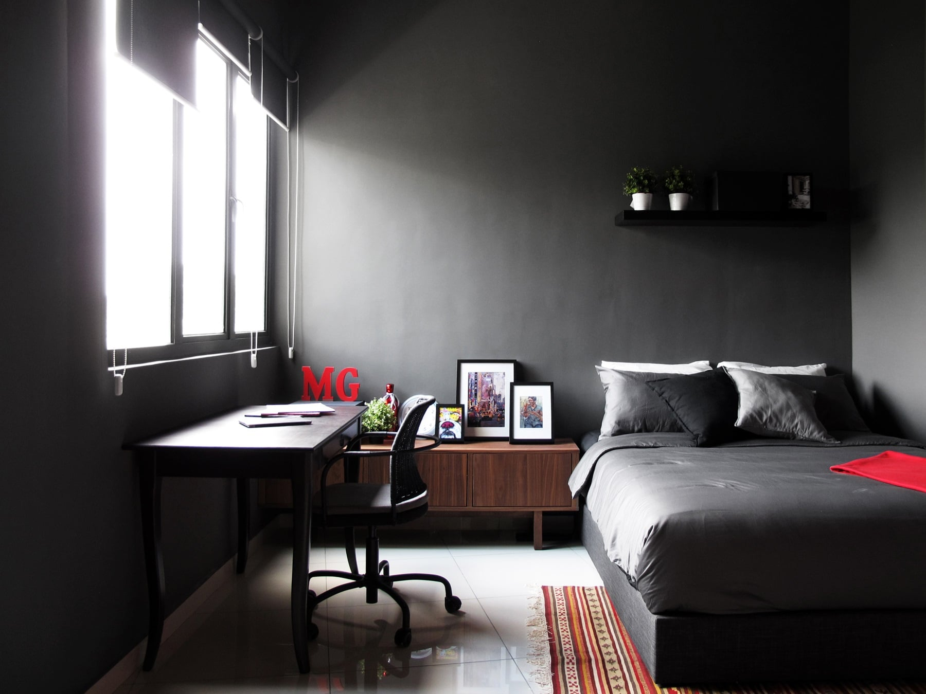 Contemporary minimalist styled condominium home created with home furnishings from ikea - Grey themed rooms ...