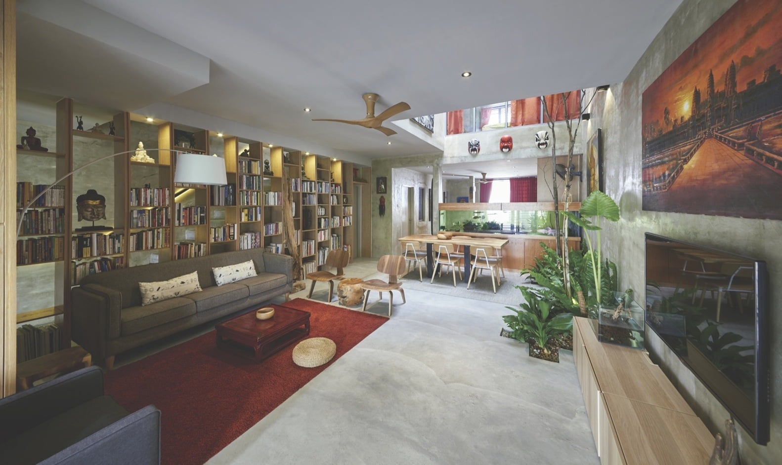 Living room view of an terrace house indoor courtyard.
