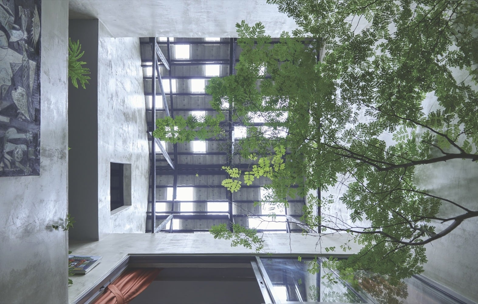Leafy branches shade the interior of the home from sunlight streaming through the skylight.