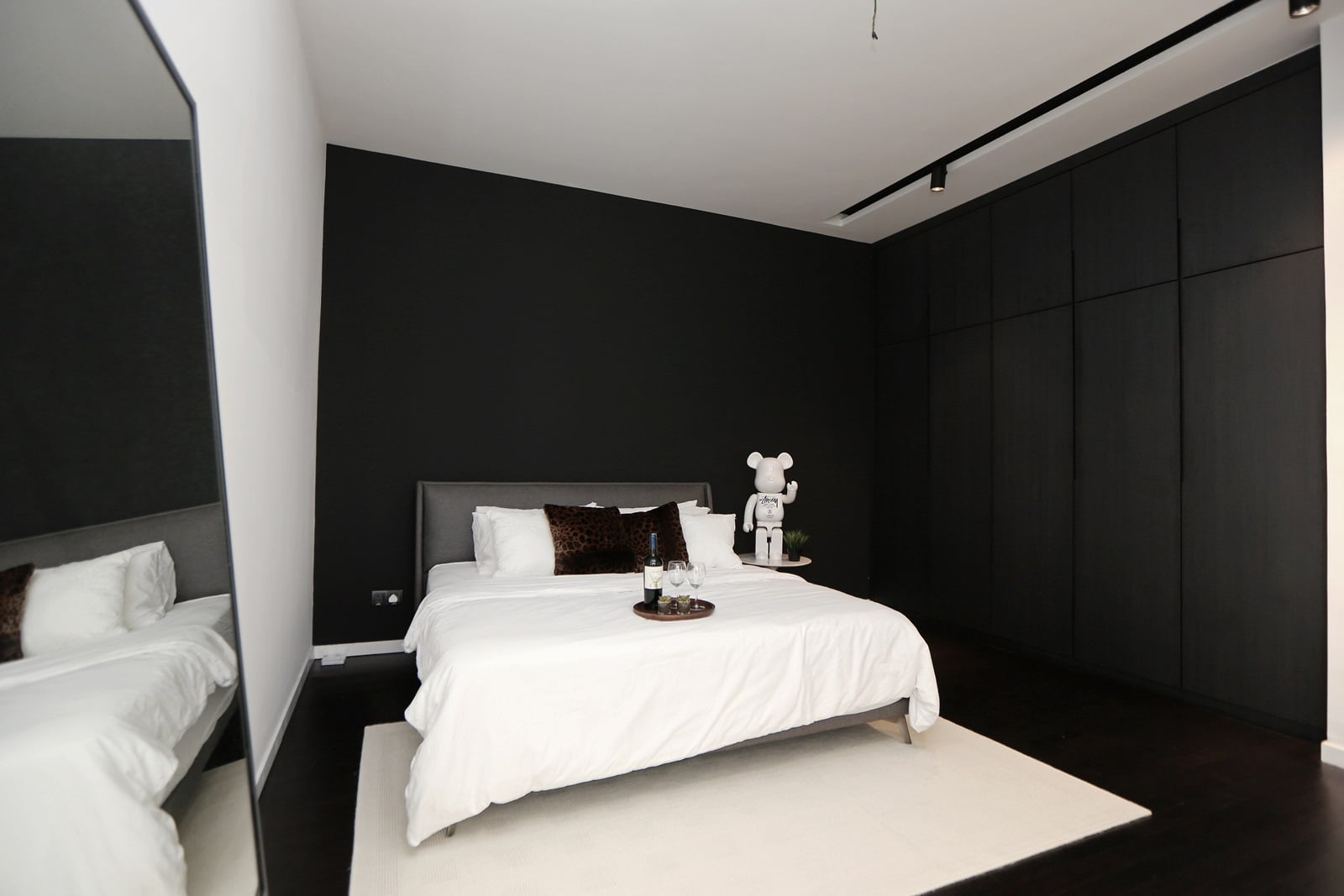 Monochrome bedroom interior styling at its finest.