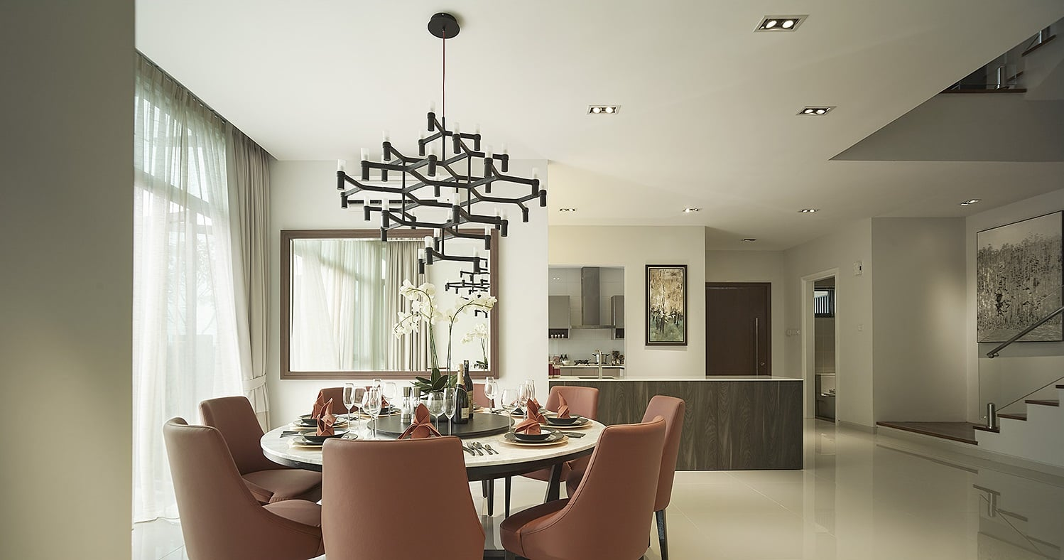 Cozy yet luxurious dining area of the Amelia show unit in Sejati Residences.