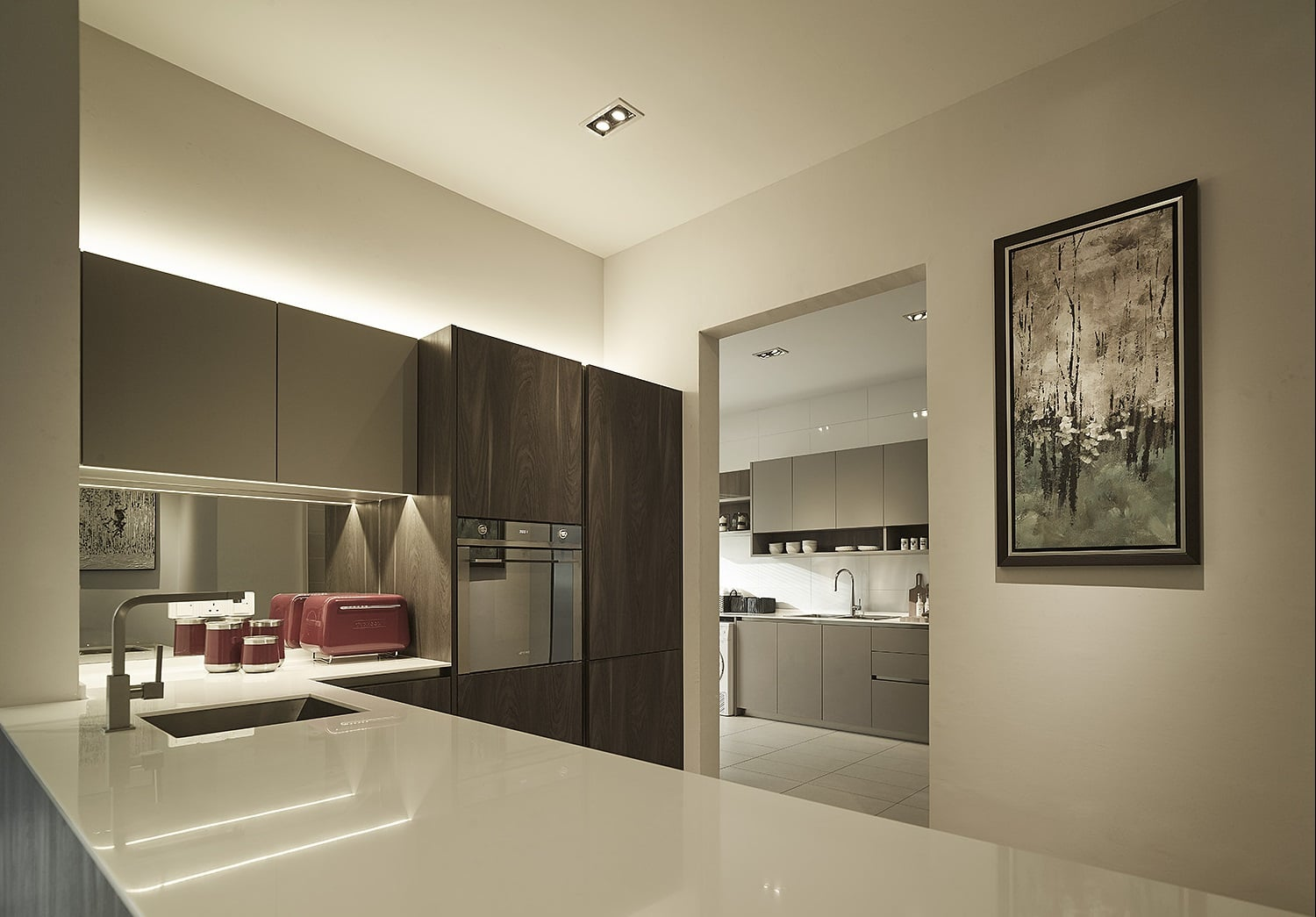 Dry kitchen designed with a more clean modern look.