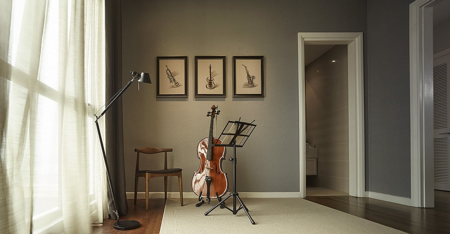 Music room designed for simplicity and class.