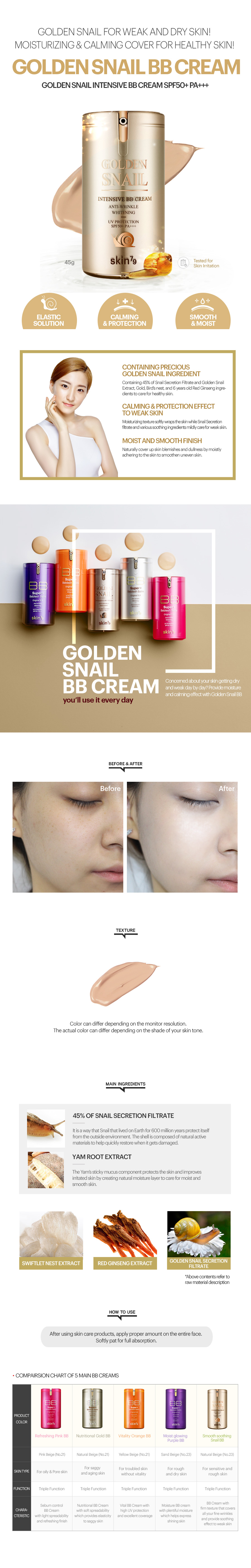 Golden Snail Intensive BB Cream SPF50 PA+++