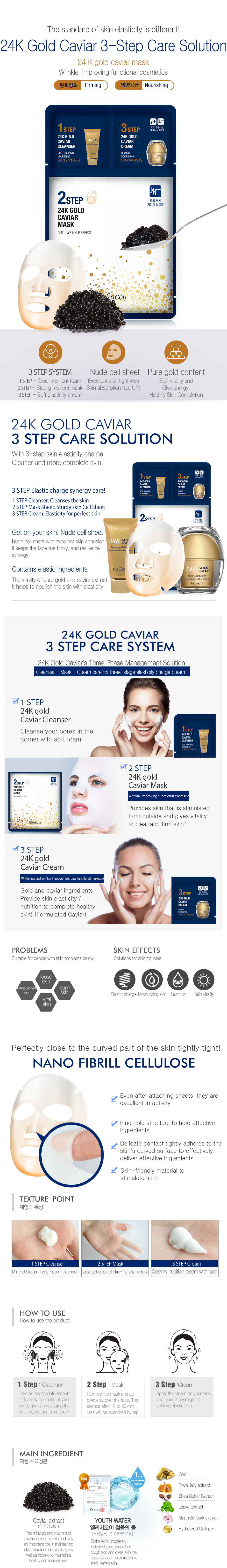 24K Gold Caviar 3 Step Mask (Box of 10pcs)