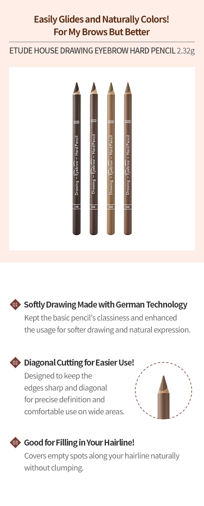 Drawing Eyebrow Hand Pencil #02 Natural Brown