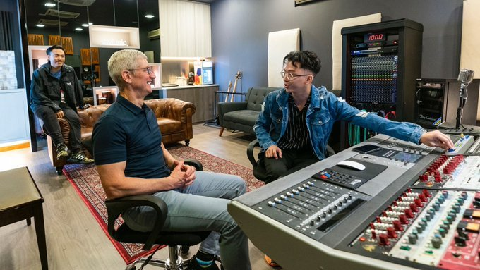 Apple CEO Tim Cook visits music studio in Singapore