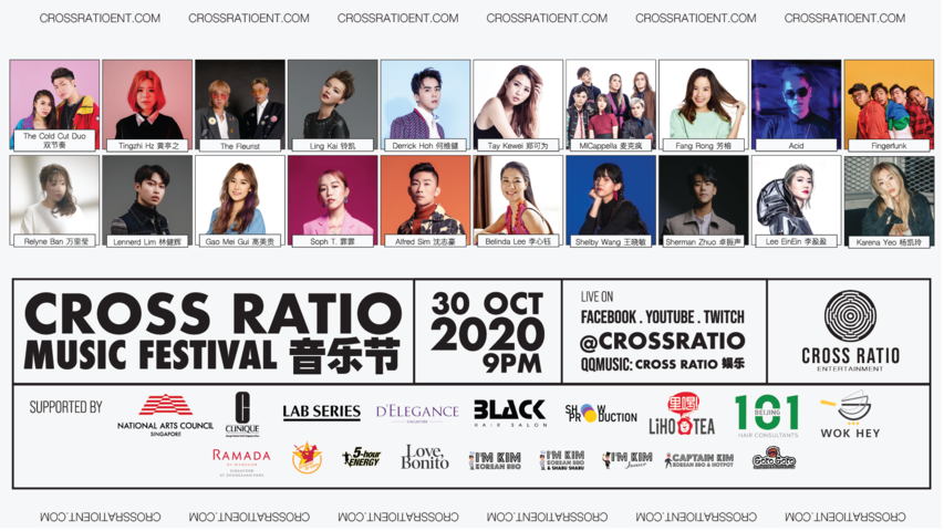 Cross Ratio Music Festival to feature over 20 Mandopop artists including Tay Kewei, Derrick Hoh, Soph. T, and more