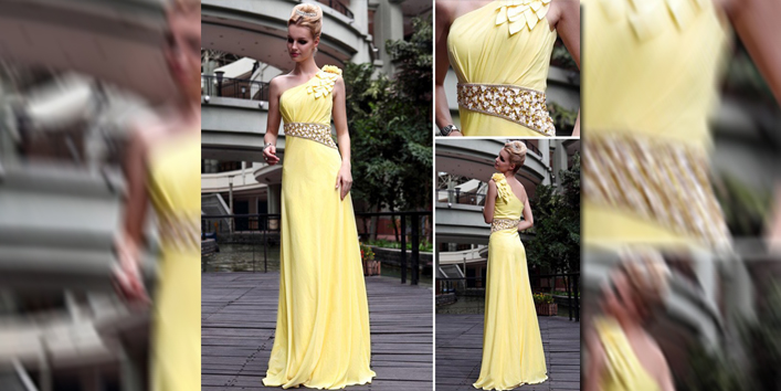 Free Shipping 2012 New Arrival Stretch Velvet One Shoulder Yellow