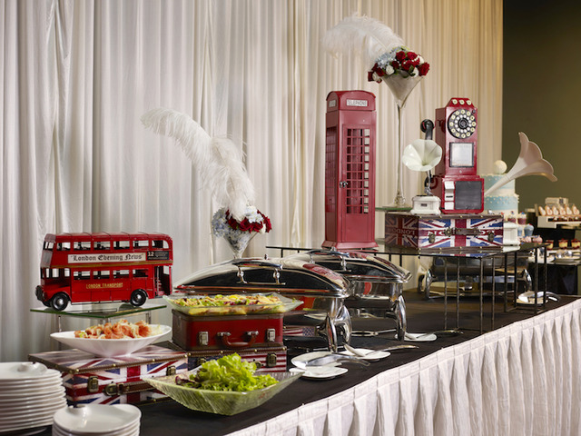 Wedding knots travel theme buffet setup