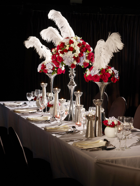Wedding knots long table feather setup