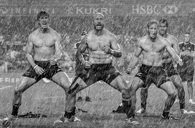 New Zealand 7s captain DJ Forbes leads his team in a celebratory Haka after the 2014 cup final v England